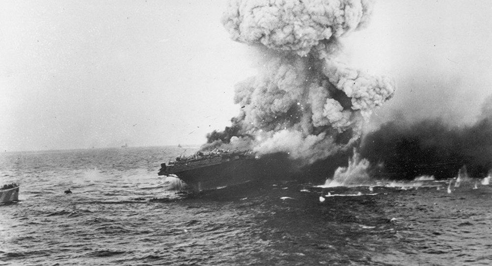 Explosion de l'USS Lexington