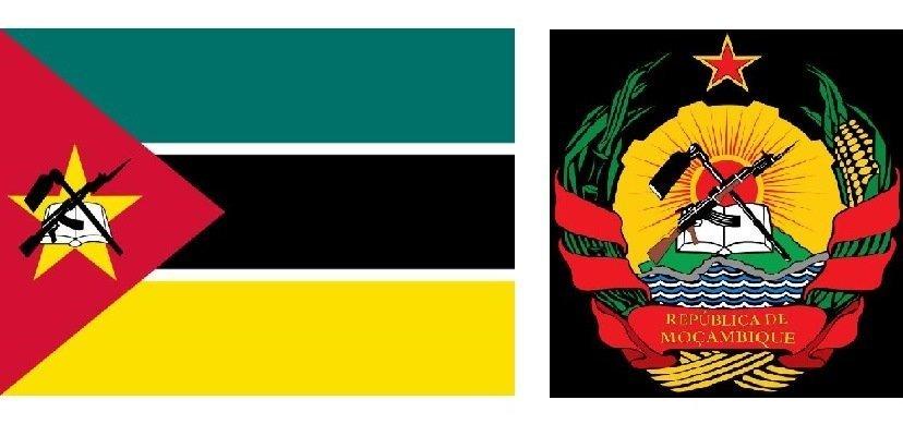 Drapeau du Mozambique et armoiries du Mozambique