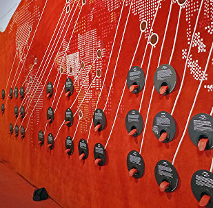 Le mur des langues au musée de l'Homme à Paris)