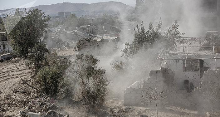 Combats dans une banlieue de Damas
