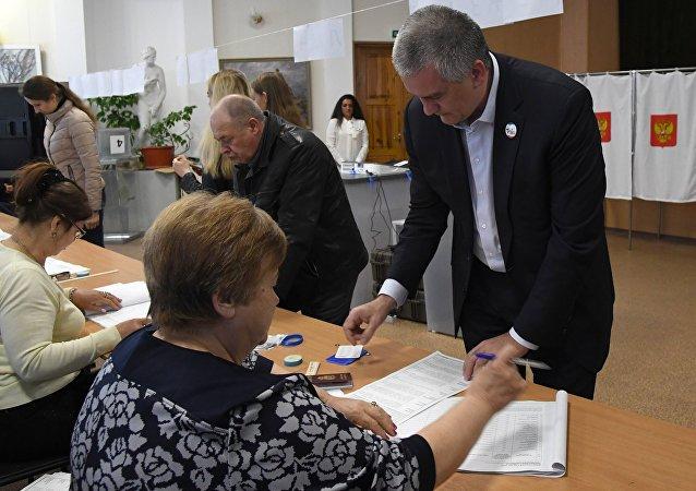 L'élection présidentielle russe en Crimée. Le dirigeant de la République Sergueï Aksionov