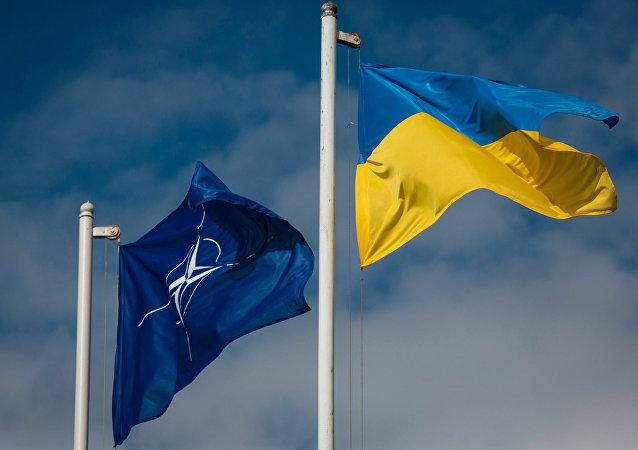 Les drapeaux de l'Ukraine et l'Otan