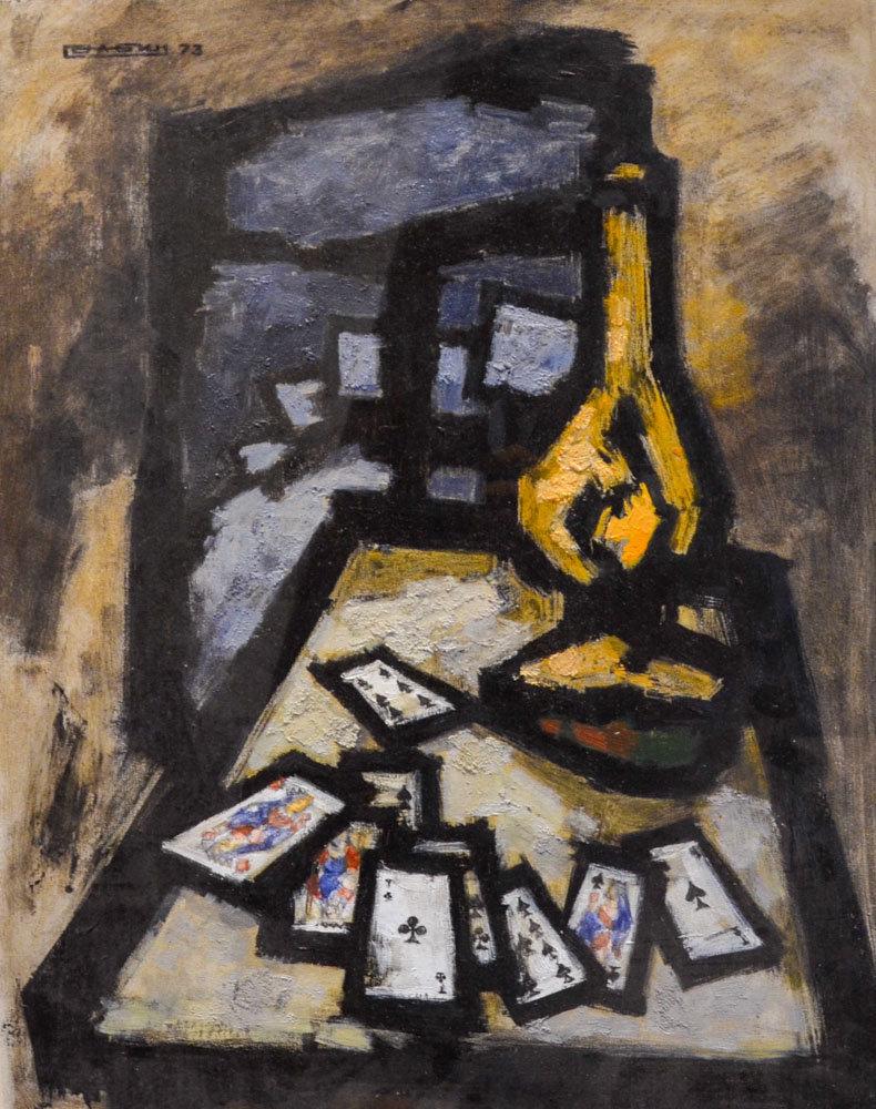Soirée d'hiver soviétique, lampe à pétrole et jeu de cartes, 1973, huile sur carton, 43 x 34 cm