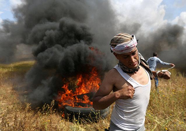 Des affrontements à la froniiière séparant le bande de Gaza et Israël