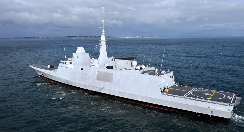 An aerial view taken on November 27, 2012 shows the new Italo-French FREMM multipurpose frigate Aquitaine off the coast of Lorient, western France.