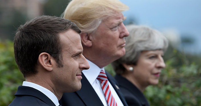 Emmanuel Macron, Donald Trump et Theresa May
