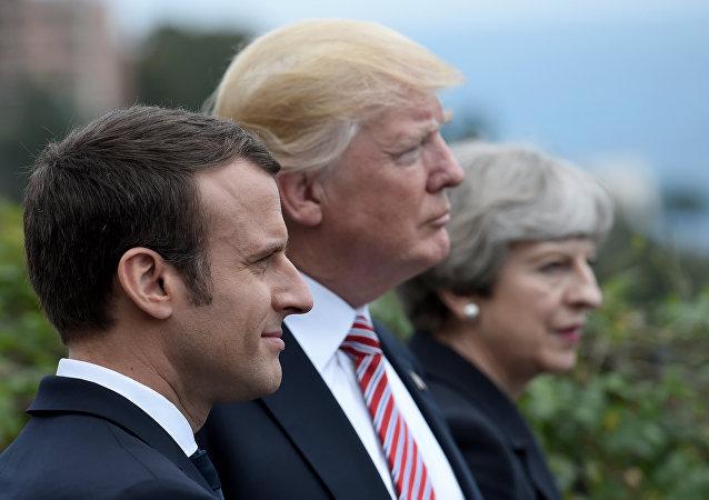 Emmanuel Macron, Donald Trump et Theresa May