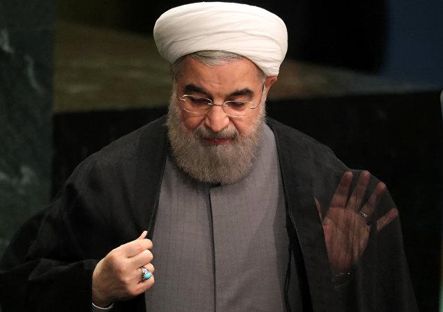 Der iranische Präsident Hassan Rouhani nach seiner Rede vor der UN-Vollversammlung