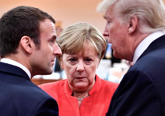 Emmanuel Macron, Angela Merkel et Donald Trump