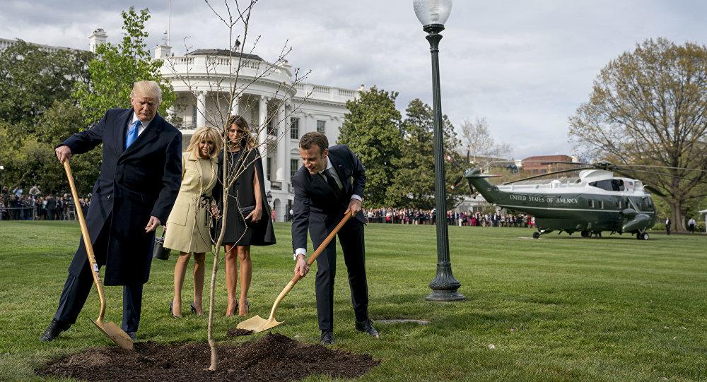 Melania Trump, Brigitte Macron, Donald Trump et Emmanuel Macron