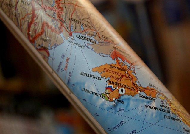 Une carte montrant la Crimée comme une partie de la Russie