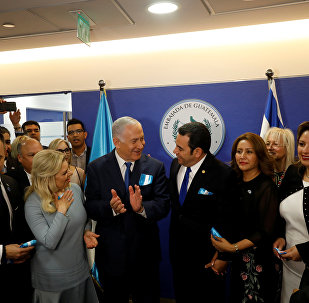 Guatemalan President Jimmy Morales, his wife Hilda Patricia Marroquin, Israeli Prime Minister Benjamin Netanyahu and his wife Sara, and Guatemalan Foreign Minister Sandra Jovel Polanco attend the dedication ceremony of the embassy of Guatemala in Jerusalem, May 16, 2018
