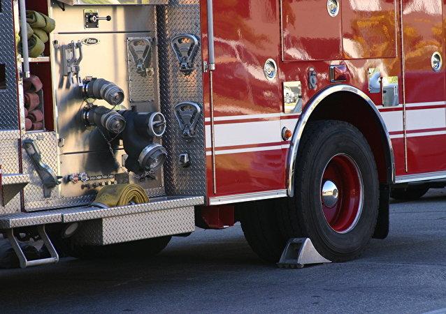 Un véhicule anti-incendie américain