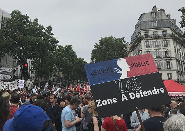 Les manifestations contre la politique de Macron à Paris le 26 mai