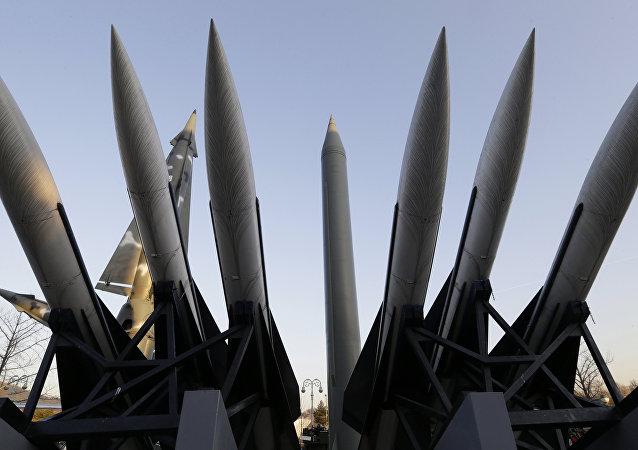 Un missile nord-coréen exposé au Musée mémorial de la guerre de Corée à Séoul