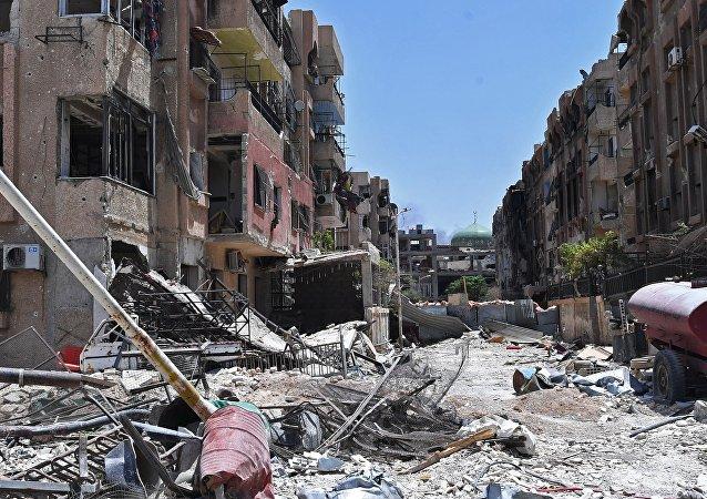 L'ancien camp des réfugiés Yarmouk en Syrie