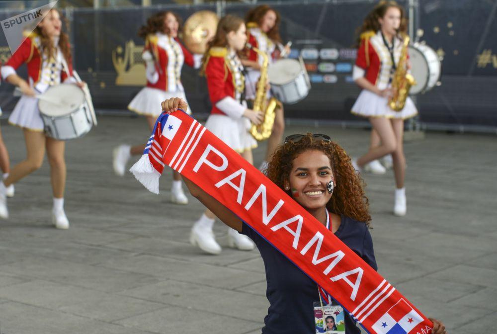 Une supportrice de l'équipe du Panama