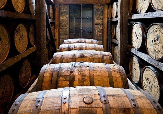 Des fûts de la distillerie