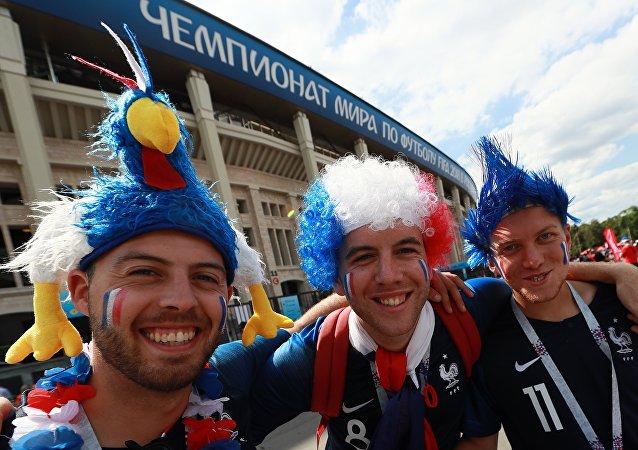 Supporters avant le match France-Danemark dans le cadre du Mondial 2018