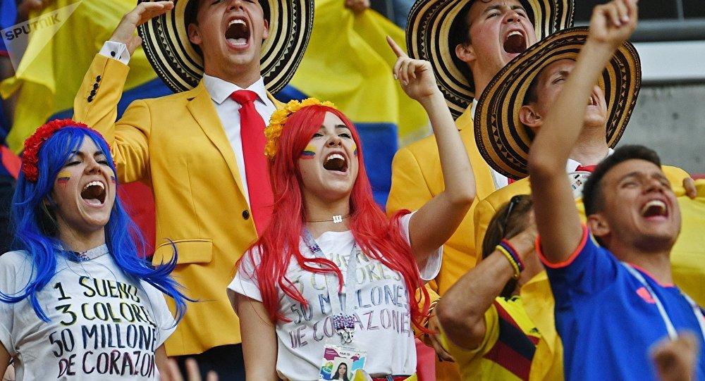 Les fans avant le match de la Coupe du monde 2018 entre la Colombie et la Pologne