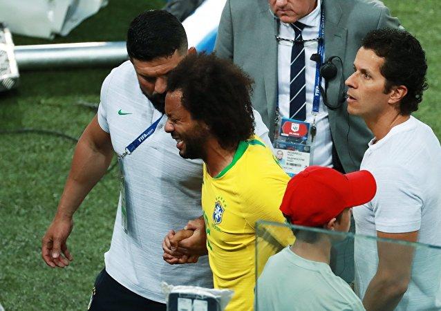 Marcelo lors du match Brésil-Serbie