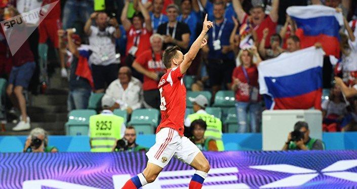 Denis Cheryshev après le premier but du match Russie-Croatie