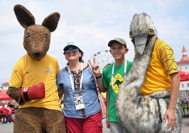Des supporters avant le match Australie-Pérou au Mondial 2018