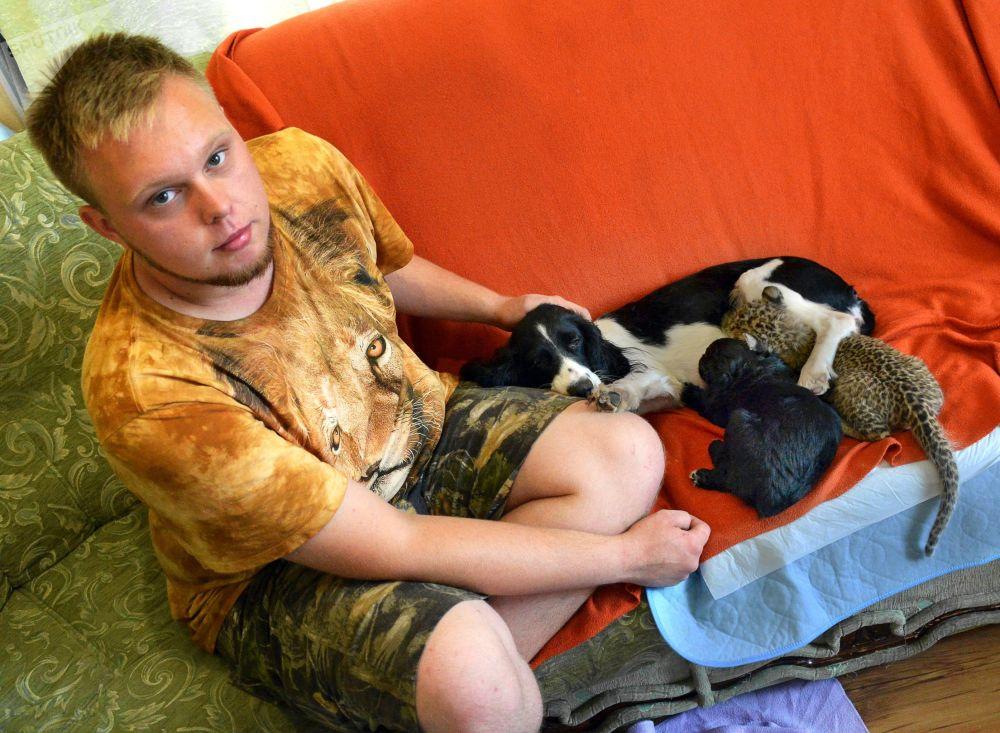 une chienne adopte un b b l opard sputnik france. Black Bedroom Furniture Sets. Home Design Ideas