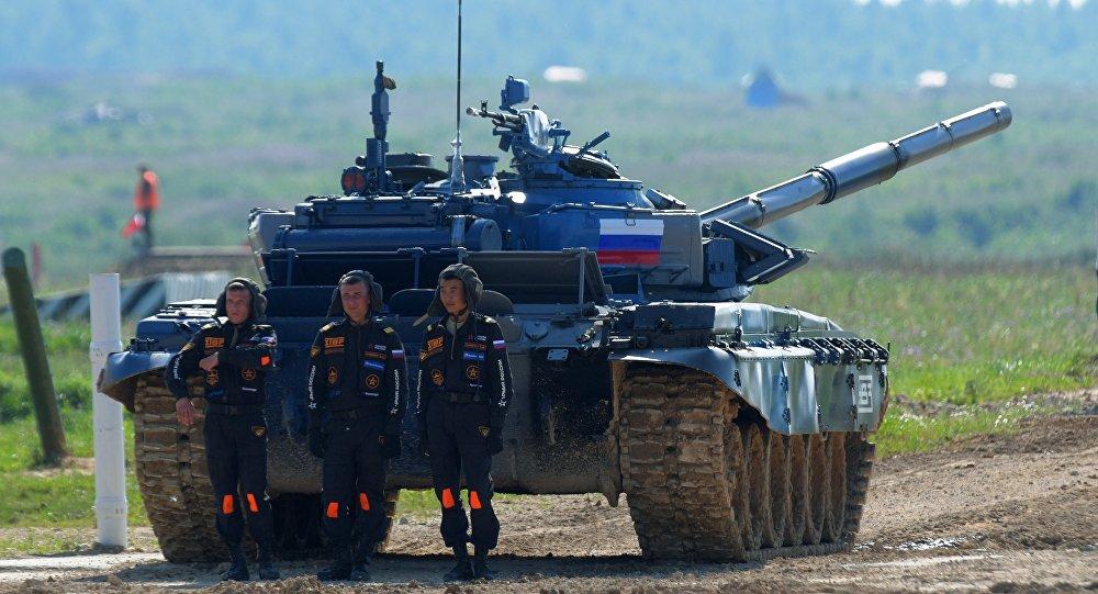Les tankistes russes lors du Biathlon de chars d'assaut