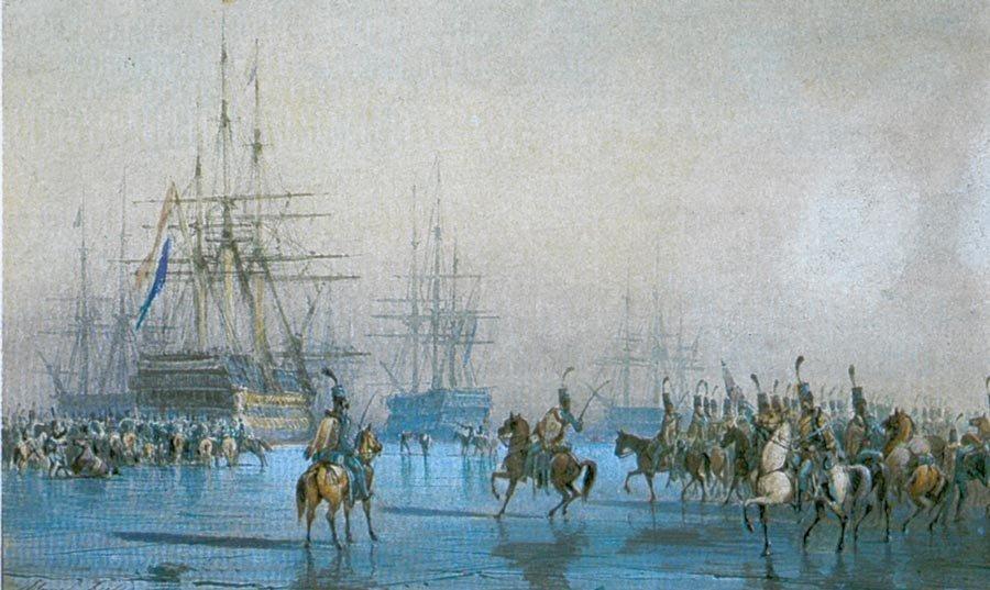 Aquarelle peinte par Léon Morel-Fatio représentant la capture de la flotte Hollandaise au Helder le 23 Janvier 1795