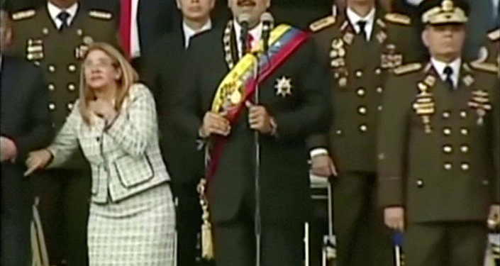 Venezuelan President Nicolas Maduro reacts during an event which was interrupted, in this still frame taken from video August 4, 2018, Caracas, Venezuela.