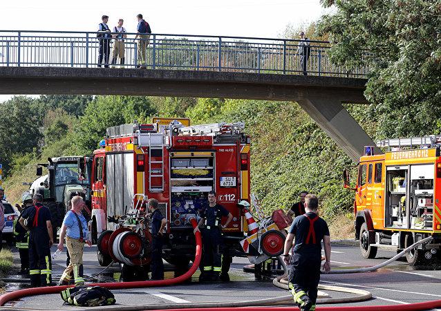 Les pompiers dans la ville allemande de Siegburg
