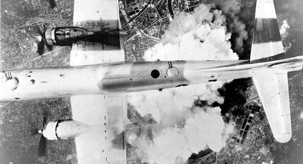 A B-29 over Osaka on June 1, 1945