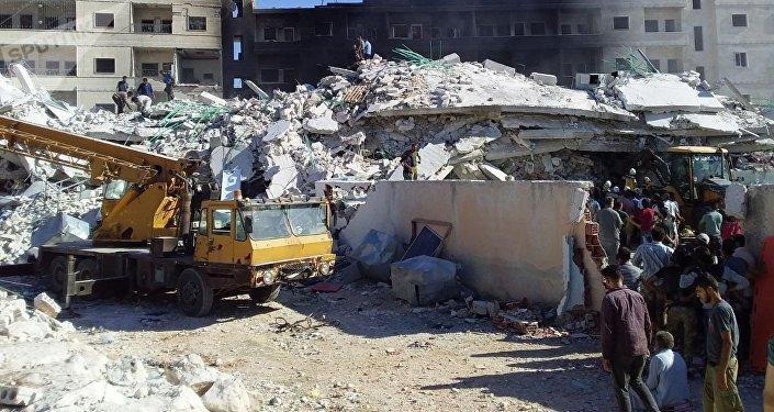 Une explosion à Idlib, en Syrie, le 12 août 2018