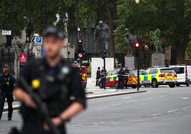 Une voiture fonce sur les grilles entourant le parlement britannique