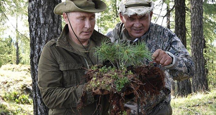 Vladimir Poutine et Sergueï Choïgou dans la république de Touva, 2018