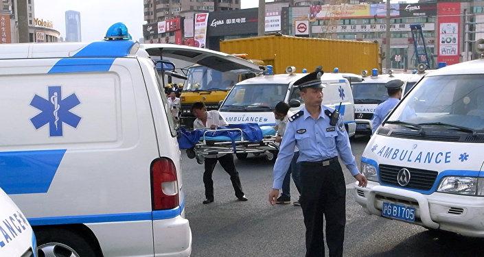Ambulance en Chine. Photo d'archive