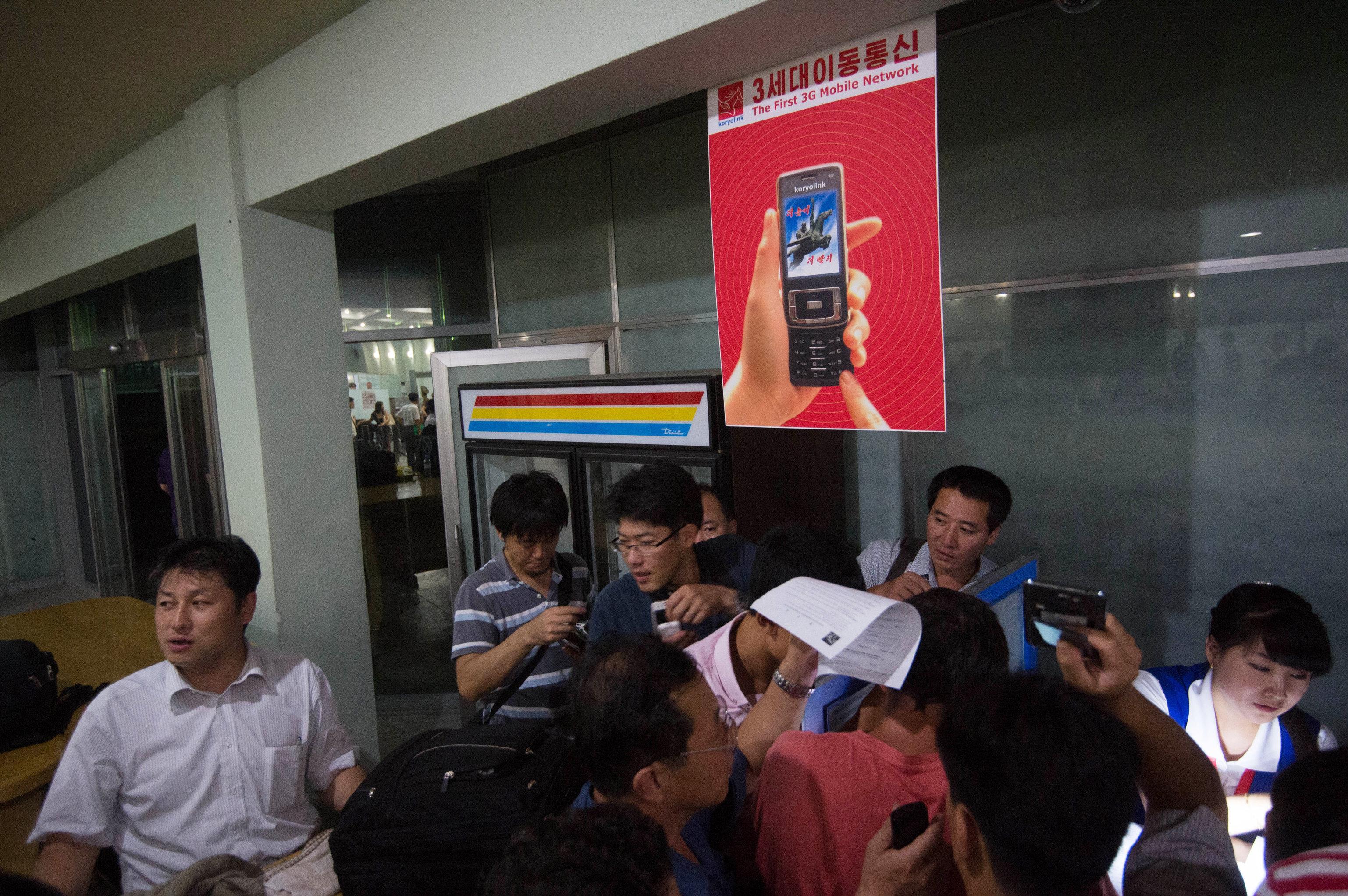 À l'aéroport de Pyongyang, un poste de location de portables pour les étrangers