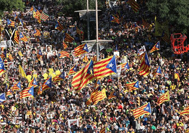 Une manifestation contre l'emprisonnement des dirigeants catalans à Barcelone,  le 14 juillet 2018