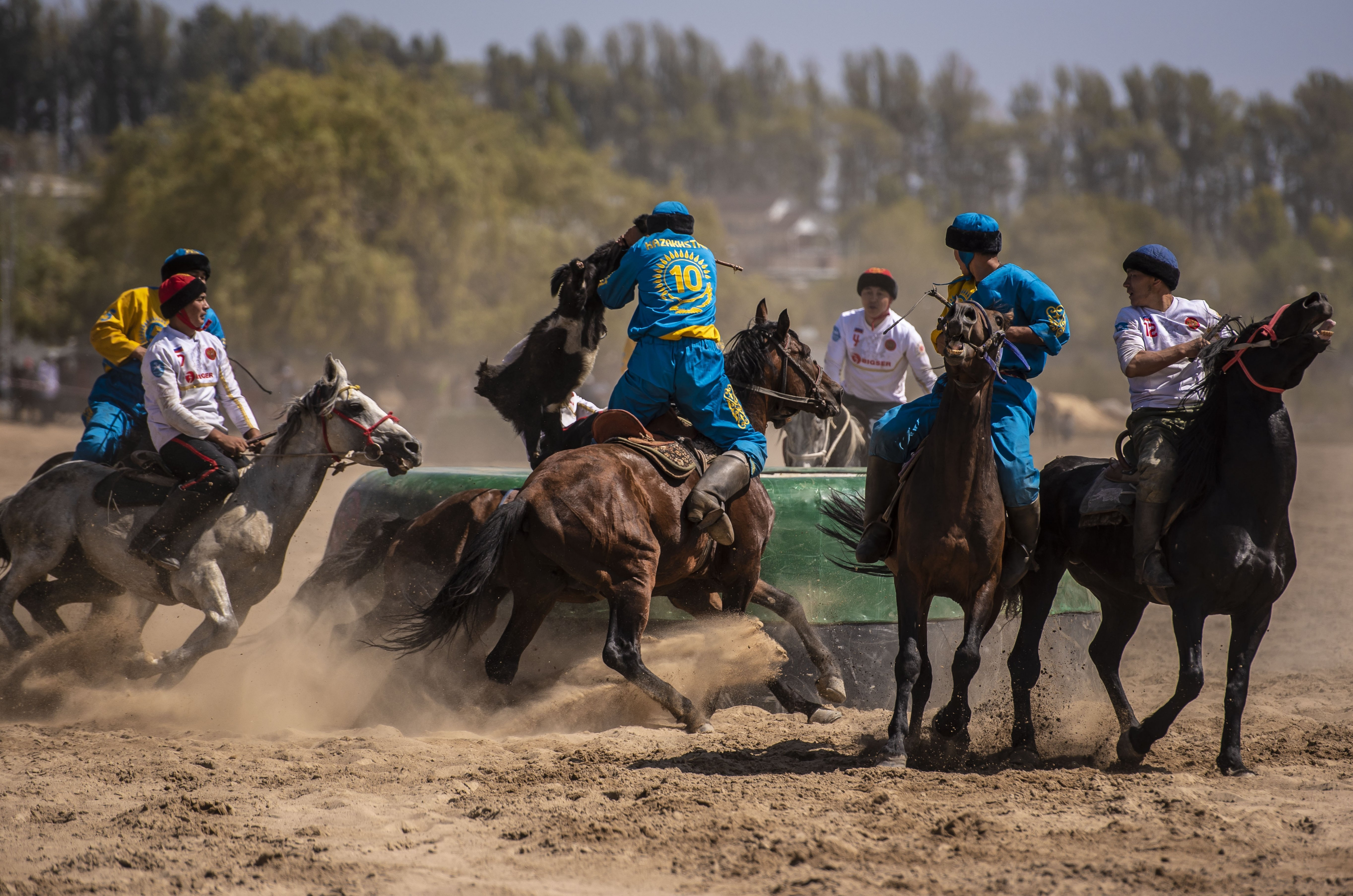 Un match de kok-boru durant les World Nomad Games 2018