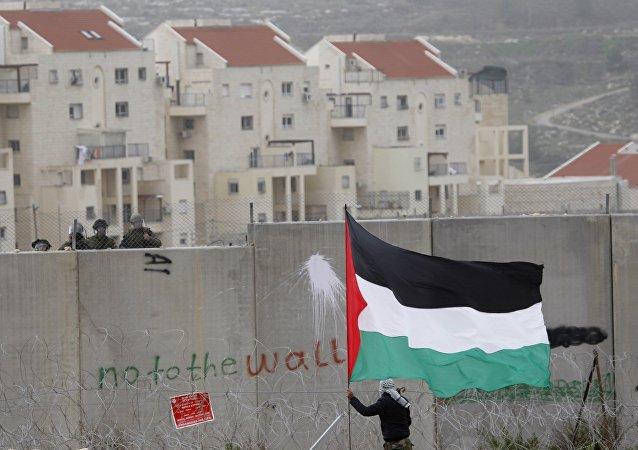 Protestataires palestiniens près de Ramallah