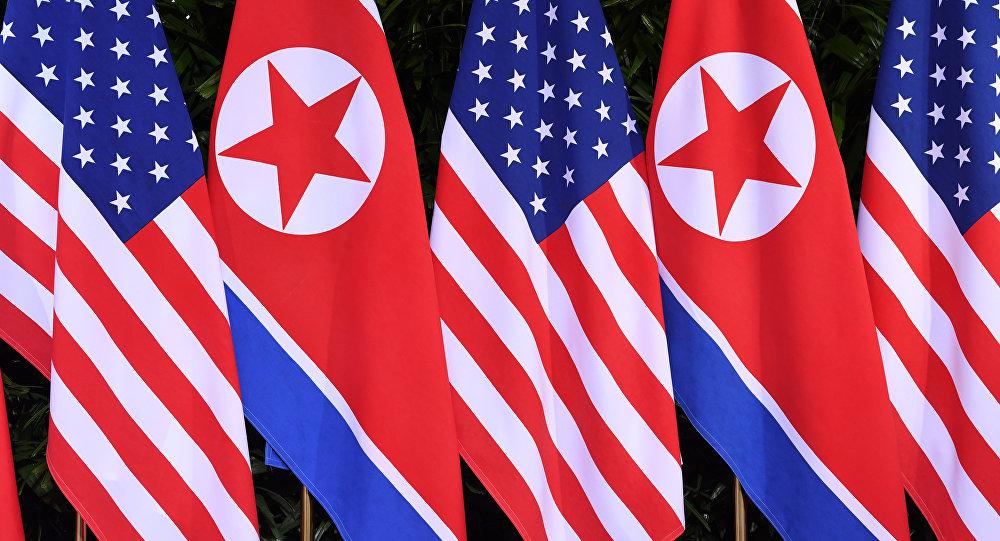 Drapeaux nord-coréens et américains