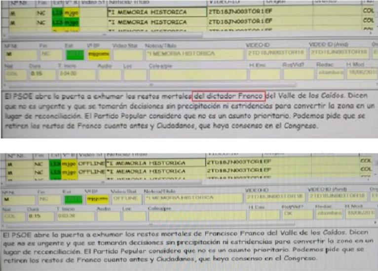 Mise en page d'un communiqué de presse: la première version, contenant les mots «le dictateur Franco», a été rédigée par le responsable de la publication. La seconde, modifiée, est publiée 10 minutes après, avec une disparition du mot «dictateur».