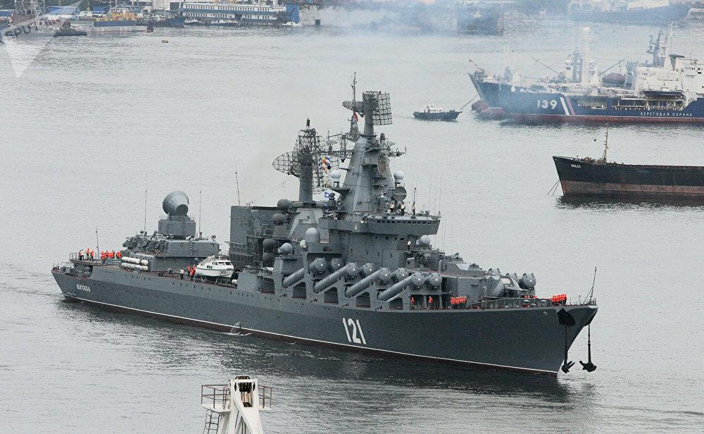 Le croiseur de garde russe Moskva du projet 1164 Atlant