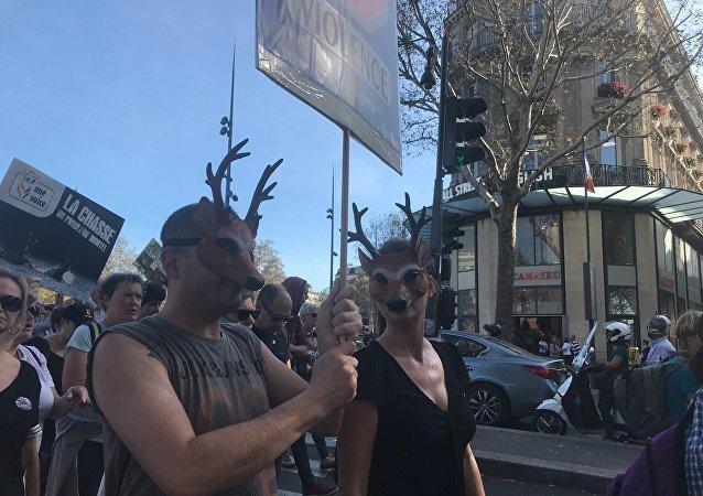 Manifestation contre la chasse à Paris