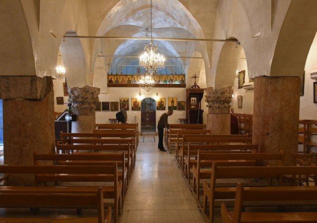Eglise dans la ville chrétienne de Mharde, au nord de Hama