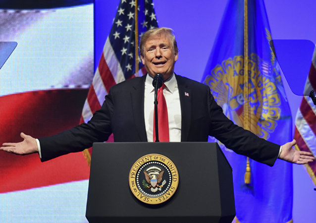 US President Donald Trump speaks at the 91st Annual Future Farmers of America Convention and Expo at Bankers Life Fieldhouse on October 27, 2018 in Indianapolis, Indiana.