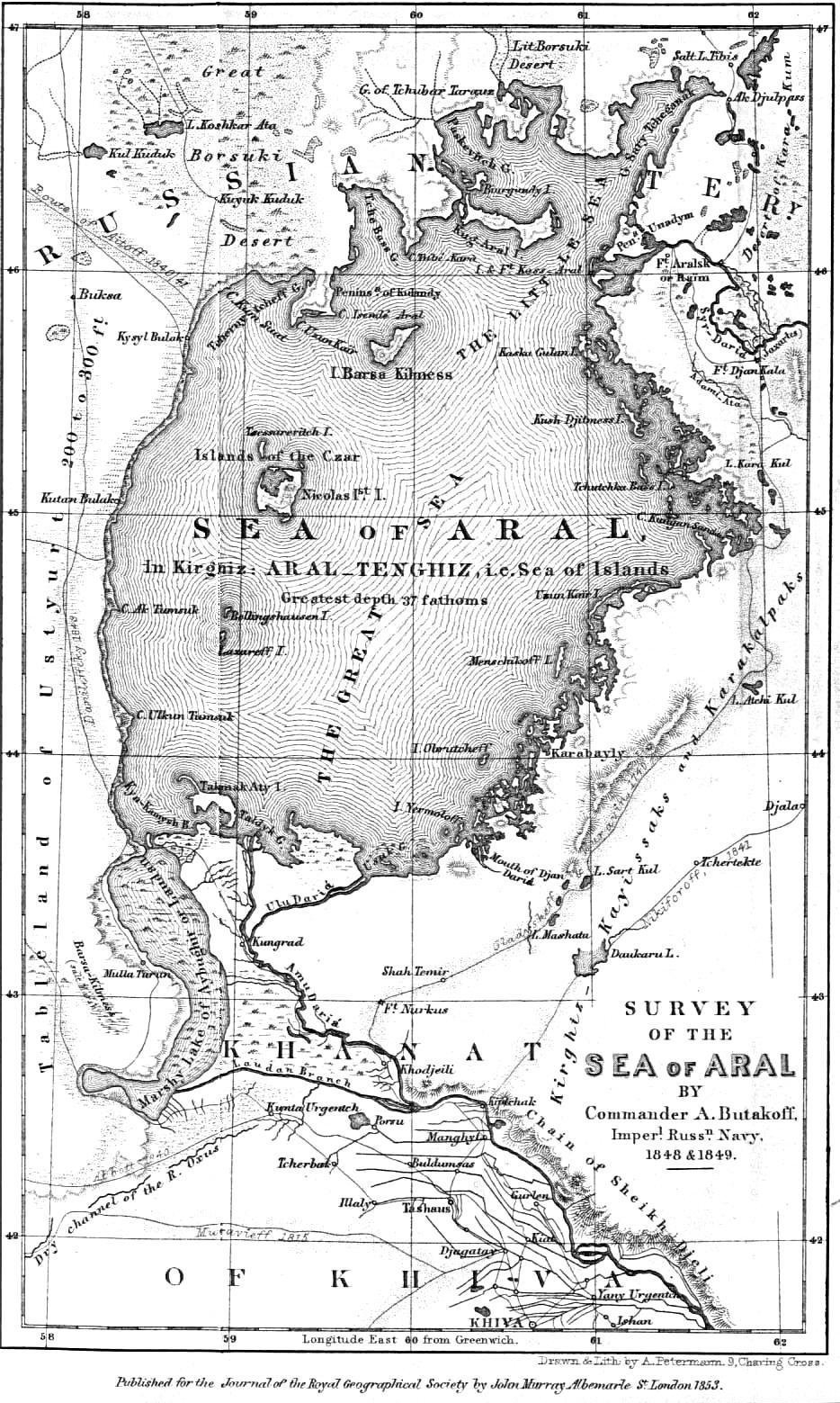 La mer d'Aral en 1853