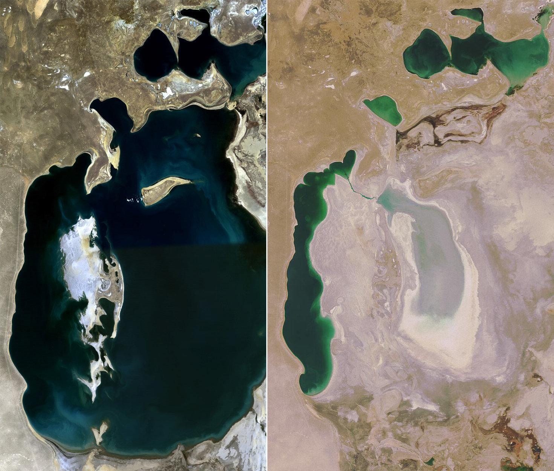 La mer d'Aral en 1989 et 2008