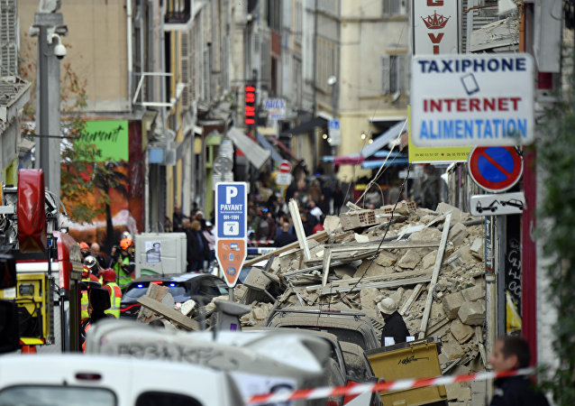 Zone de l'effondrement d'immeubles à Marseille